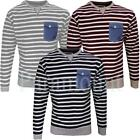 Soulstar Hello Striped Jeans Pocket Sweatshirt Top  Mens Size