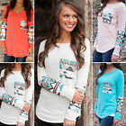 New Womens Long Sleeve Printed Tribal T Shirts Blouse Casual Summer Tee Top S-XL