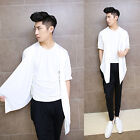 Men's White Personalized Tee Faux 2Pcs Design Short Sleeve Casual Stage T-shirt