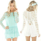 Hot Cheap Women Lady Long Sleeve Floral Crochet Lace Tops Shirt Casual Blouse