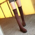 Fashion New Womens Casual Faux Suede Pull On Chunky Over the Knee High Boots Hot