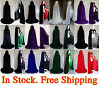 Medieval Velvet Hooded Capes Wedding Wicca Cloaks Halloween Party Stock S-XXL