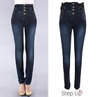 NEW Womens Dark Wash High Waist 4 Button Lace Side Bow Corset Skinny Denim Jeans