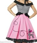 Ladies Rock N Roll 1950s Poodle Grease Fancy Dress Skirt Pink Lady Costume 50 60