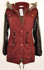 NEW LADIES GIRLS PARKA JACKET KIDS OLIVIA COAT HOODED QUILTED JACKETS BURGANDY