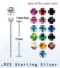 2pcs. of color 22g ~1.4mm Prong Set C.Z .925 Sterling Silver Straight Nose Stud