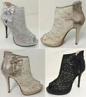 Women's Ankle Pumps Mesh Lace Rhinestone Peep Toe High Heel Zipper Party Shoes