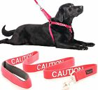 Non Pull Dog Harness Warning Color Coded Red CAUTION 2 4 6 Ft Leash Heavy duty