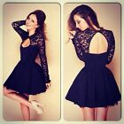 New Women Sexy Backless Evening Party Cocktail Lace Mini Short Skater Dress G021