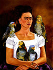 Frida Kahlo canvas I and my parrots print giclee 8X12&12X17 reproduction