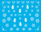 Christmas White Snowflakes Snowman Water Transfer Decals Manicure UV Decoration