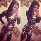 Womens Sexy Leopard Bodycon Pu Leather Evening Party Mini Dress Long Sleeve G023