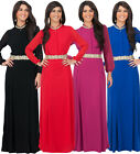 NEW Womens High Collar Long Sleeve Embellished Maxi Dress XS S M L XL 2X 3X