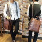 Brown Men's Vintage Leather shoulder bag Briefcase Business bag Laptop tote Bags