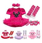 4PCS Baby Toddler Girl Minnie Mouse Tutu Romper Dress Costume Outfits Sets 0-12M