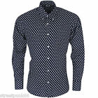 Relco Mens Navy Blue & White Star Long Sleeved Button Down Shirt Mod Rock
