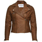 VIPARO Light Brown Quilted Asymmetrical Biker Lambskin Leather Jacket - QSJ