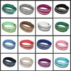 Fashion Lady Leather Wrap Wristband Cuff Punk Crystal Rhinestone Bracelet Bangle