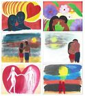 Hui Arts & Designs Artist Painted Prints Signed Love Romance Man Woman Wall Art