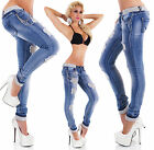 Sexy Women's Blue Destroyed Jeans Trousers Skinny Hipsters With Slver Lace J 315