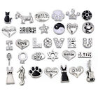 Floating Charms for Lockets Silver Black/White Crystals Glass Set Wholesale Lot