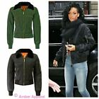 WOMENS MA1 CELEB CLASSIC BOMBER CROP JACKET LADIES FAUX FUR VINTAGE BIKER TOP