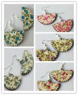 New Fashion Retro style Wood earrings hot sell flowers Pattern 5 color Free ship