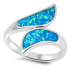 Whale Tail Crescent Moon Blue Lab Opal Ring .925 Sterling Silver Band Sizes 5-10