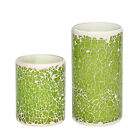Flameless LED Candle Mosaic Glass Wax With Timer St. Patrick's Day Decor Green