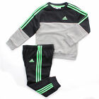 adidas Crew 3-Stripe Jogger Infant Kids Boys Tracksuit Set Grey/Green