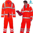 Mens Hi Vis Jacket Visibility Overall Trousers Safety Work Waterproof Rain Coat