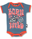 Six Bunnies Born Wild Baby Onesie Bodysuit Kustom Moto Hippy Shower Cute Gift