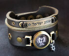 Shema Yisrael and Mossad Bracelet - Adjustable Cuff Wristband for Man and Woman