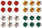 6 x Studex Ear Piercing Stainless Steel Stud Earrings Birthstones Claw Setting