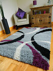 NEW SMALL XX LARGE GREY SILVER THICK SOFT QUALITY SHAGGY PILE AREA RUG HALL MAT