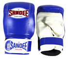 Sandee Blue/White Velcro Bag Gloves - LEATHER mixed martial arts safety gear MMA