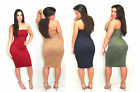 Sexy Navy Faux Suede Strapless Midi Dress Fitted Bodycon Tube Dress  USA