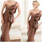 NWT TERANI COUTURE 11183E $798 ONE SHUOLDER PLEADED SHIFFON GOWN AUTENTIC $299