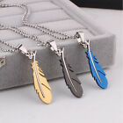 Fashion Silver Green Black Feather Chain Men's Stainless Steel Pendant Necklace