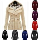 Fashion Womens Casual Double Breasted Belts Trench Coat Hooded Jacket Peacoat