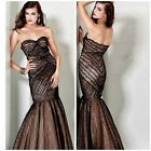 NWT JOVANI 4458 Strapless sweetheart neckline mermaid lace  black nude msrp$789