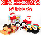 Kids Christmas Slippers With Animation! SANTA RUDOLPH Xmas Novelty Funky Gift