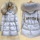 Ladies 2015 winter Hooded Real Raccoon fur coat thick White duck down coat S-5XL
