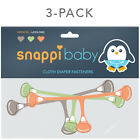 3 Pk Snappi Baby Fasteners Flat/Prefold Cloth Diapers Replace Diaper Pins Size 1