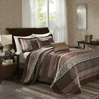 BEAUTIFUL XXL MODERN RED BROWN TAUPE CABIN LODGE COZY QUILT BEDSPREAD SET NEW image