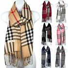 Women Pashmina Silk Scarf Plaid Checker Pattern Long Soft Shawl Wrap Cape Spring