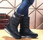 Winter Warm Mens Casual Camo Velcors Flats Thick Waterproof Snow Mid Calf Boots