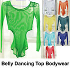 New Women Soft Transparent Belly Dancing Costume Long Sleeve Top Bodywear