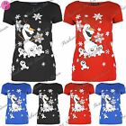 Ladies Christmas T Shirts Womens Snowman Olaf Family Cap Sleeve Stretchy Top