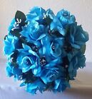Turquoise Rose with Rhinestone Nosegay Bridal Wedding Bouquet & Boutonniere